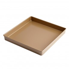 Golden 11x11inches Square Non-stick Bake Ware Cake Mould Biscuit Nougat Bake Ware, Cookie Sheet Baking Tray