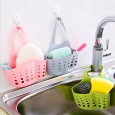 T Adjustable Snap-on Sink Storage Bag, Sink Storage Rack Cupboard Hanging, Kitchen Storage Bins and Baskets, Faucet Drain Rack Hanging