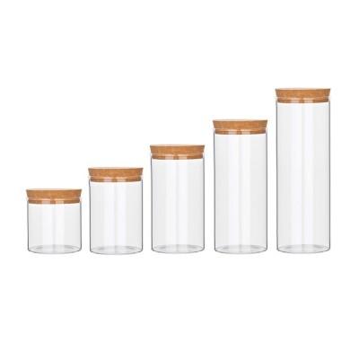 Glass Bottles Vials Jars Glass with Cork Stopper Storage Bottle Straight Tube Flowers Tea Can