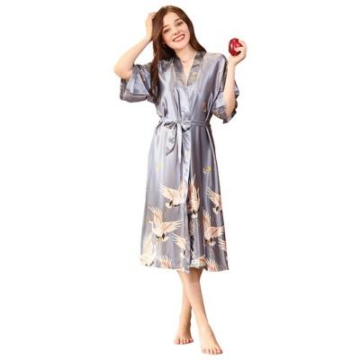 Long Sleeved Imitation Silk Fabric Sexy Bathrobe, Beautiful Printing Pattern  Ladies' Pajamas Women Sleepwear