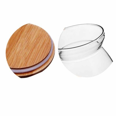 Moisture Proof Transpa Fresh Wooden Lid Tea Canister Storage Snacks Bottle Dry Goods And Coffee Beans