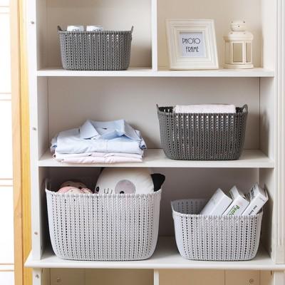 Plastic Coverless Rattan Storage Basket, Desktop Sundries Storage Box, Bathroom Cosmetics Storage Container