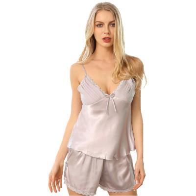 Imitation Silk Fabric Sling Sexy Pajamas Set, Soft and Breathable Cardigan V Collar Nightdress