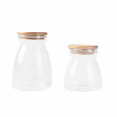 Moisture-proof Transparent Fresh Wooden Lid Tea Canister Storage Canister, Snacks, Storage Bottle, Dry Goods and Coffee Beans