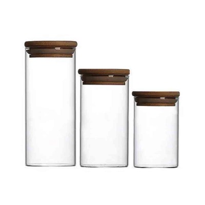Transparent Glass Flower Tea Food Storage Canned Wood Cover Sealed Canned With Wooden Lid for Gift Set