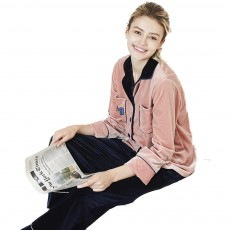 Warm and Comfortable Velvet Fabric Tracksuit, Ladies Contrast Color Stitching Cardigan Pajama, Autumn and Winter
