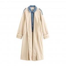 Light Apricot Layered Dust Coat British Style Straight Wind Coat for Women Contrast Colored Chic Turndown Straight Windbreaker