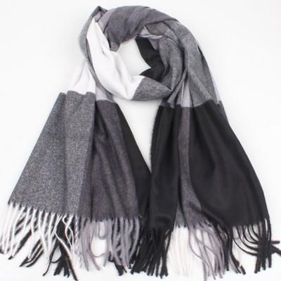 Minimalist Stylish Plaid Scarf Lady Warm Imitated Cashmere Fringed Scarf Dual Purpose Unisex Winter Tippet Shawl Warp for Women