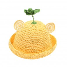 Cute Girl Sunhat Animal Ears Mung Bean Sprout Decorative Children Straw Hat Breathable Knitted Bucket Hat for Kids