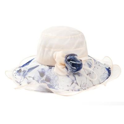 Minimalist Stylish Atmosphere Stereo Flower Model Decorative Foldable Lady Sun Bonnet Hat with Large Brim Wind Rope