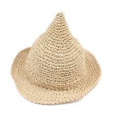 Cute Stylish Witch Hat Model Sunlight Protection Children Knitted Straw Hat with Pointed Top Large Brim
