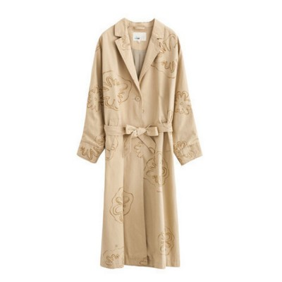 Printing Floral Wind Coat Retro Artsy Long Dust Coat Pure Cotton Turn-down Collar Overcoat Breathable Outer Wear for Women Lady Girl