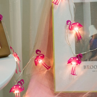 Literary Flamingo Christmas Light Night Lamp for Festival Decoration Waterproof LED Light String for Indoors or Outdoors Decoration Battery Power Supply
