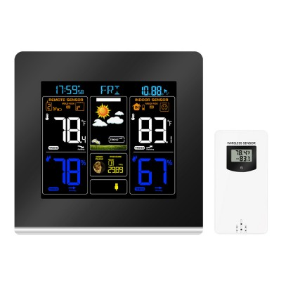 RF433 LCD Color Weather Station Clock Thermometer Humidity Snooze Clock Sunrise Sunset Calendar 12H 24H Display USB Charge + Outdoor Wireless Sensor