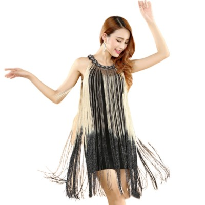Adult Latin Dance Dress with Delicate Unique Tassel Dual Colors Spliced Stretchy Polyester for Women