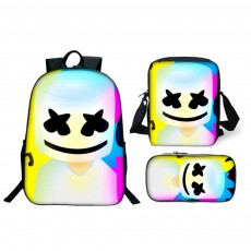 Three-Piece Backpack Set Large Capacity Durable Polyester Stylish Colorful Pattern for Student