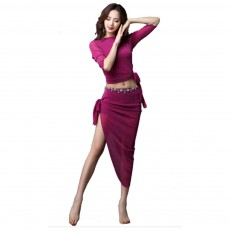 Belly Dance Costume with High Quality Silver Fabric Dancing Dress Set with Jewelry Decoration Irregular Hemline