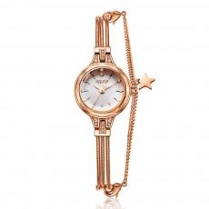 Stylish Delicate Small Round Dial Lady Quartz Wrist Watch with Rhinestone Star Model Pendant Decoration Bracelet