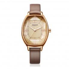 Delicate Vintage Stylish Bucket Model Lady Quartz Wrist Watch Leather Strap Stereo Cutting Glass Mirror