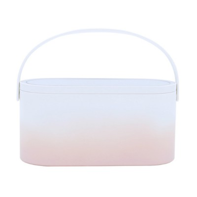 Portable Dressing Make Up Mirror Storage Case with Soft LED Light Recharging HD Mirror Comfortable Handle Cosmetic Storage Box