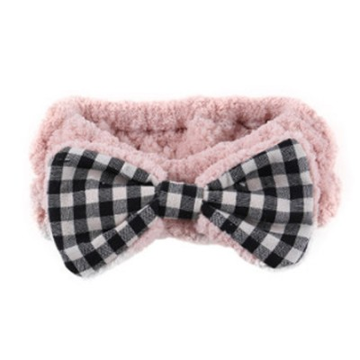 Coral Velvet Bowtie Headband Makeup Hairband with Elastic Tie for Spa Yoga Sports Shower