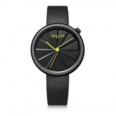 Julius Waterproof Watch Quartz for Women with Stainless Steel Casecover and Soft Delicate Genuine Leather Band