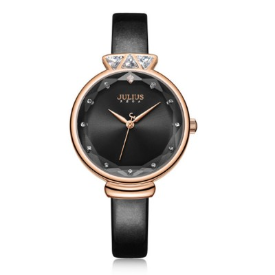 Women's Julius Quartz Wrist Watches with Stainless Steel Cover Case Silky Band Water Resistance