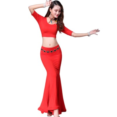 Belly Dance Costume Solid Color Set with Jewelry Decoration Fishtail Hemline Sheathe Dress