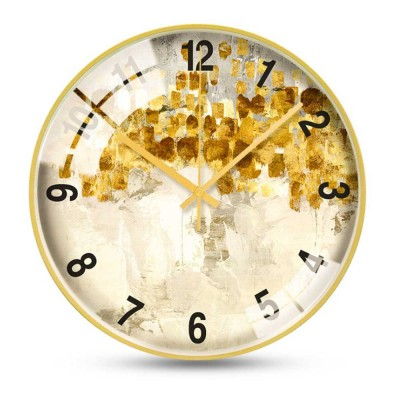 Nordic Style Wall Clock for Household Office Use Modern and Fashionable Wag-on-the-wall High-grade Gold Frame Hangable Watch Clock