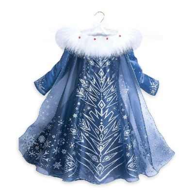 Snow Queen Princess Costumes Elsa Anna Cosplay Dress with Beautiful Cloak for Girls Princess in Party