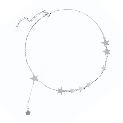 Lucky Star Choker Necklace Original Sterling Ornaments with S925 Sterling Silver Star for Women Girls
