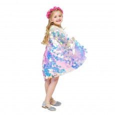 Halloween Cosplay Shiny Sequin Cloak Western Style Mermaid Mantle for Girl Kids PVC Made Lovely Princess Dress Mock 2019 New