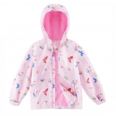 Cute Carton Horses Butterflies Printing Girl Windcheater Spring Autumn Outdoor Jacket Windbreaker Tops for Children