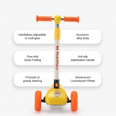 Children's Scooter Small Yellow Duck 3 Rounds Flash Collapsible Wide Wheel for Boys Girls 1-6 Years Beginner Swing Car