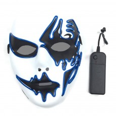 Brilliant EL Mask for Carnival Halloween Birthday Party Cosplay Hand-painted LED Cold Light Mask-like Face Glowing Mask Street Dance Glow Mask