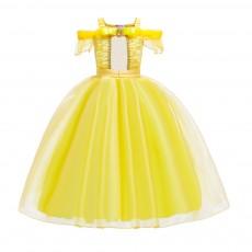Short Sleeve Princess Dress for Halloween's Cosplay Girl Kids Wear Grenadine Long One-piece Princess Dress Performance Skirt