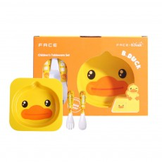 Small Yellow Duck Children's Tableware Baby Multi-function Cute Cartoon Plate Baby Shatter-resistant Food Supplement Bowl Fork Spoon Set