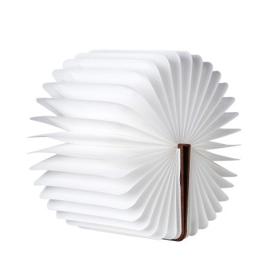 Creative PU Wood Grain Book Light with Five Color Auto Gradient Ramp Rechargeable Foldable LED Book Lamp Stylish USB Night Lamp