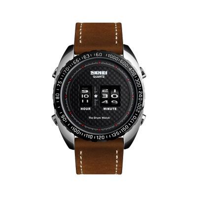 Fashionable Casual Men's Drum Watch with Genuine Leather Bracelet Waterproof Qualified Quartz Movement Wristwatch Round Dial Roller Wrist Watch