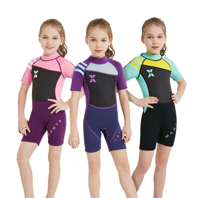 Kids Wetsuit 2.5mm Neoprene Slim Shorty Diving Suits for Swimming Snorkeling Surfing Fishing Back Zipper Suit