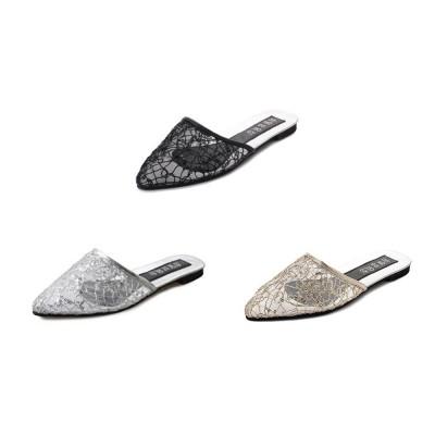 Women Slipper Pointed Toe Slides Flat Heels Backless Dress Sandals Hollow Out Flat Shoe