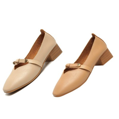 Women's Wide Width Flat Shoes Comfortable Bow Buckle Strap Casual Shoe Mary Jane Square Toe Ballet Flats