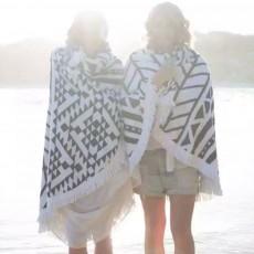 Round Beach Towel Microfiber Fabric Bohemia Yoga Mat Tassels Circle Beach Blanket with 60 inch Diameter