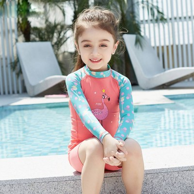 Lovely Kids Wetsuit Long Sleeve Slim Two Pieces Diving Suits for Swimming Snorkeling Surfing Fishing Back Zipper Suit