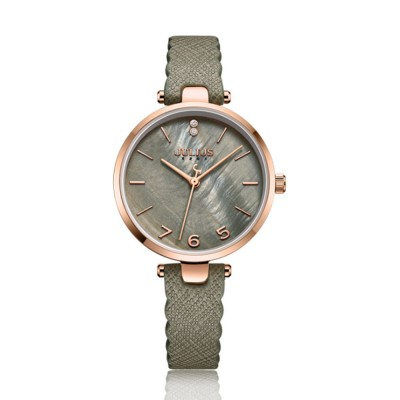 Women's Waterproof Watch with Japanese Quartz and Soft Leather Band Crystal-Accented Girls Ladies Wrist Watch