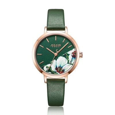 Julius Women Waterproof Watch 3D Flower Ancient Genuine Leather Band Japanese Quartz and Crystal-accented Dial Wrist Watch