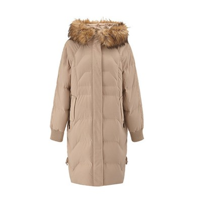 Women's Hooded Down Jacket Slim Long with Fur Hood Collar Lightweight Warm Coat for Winter Outdoor