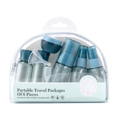 6pcs Portable Travel Skin Care Sub Bottles Supplies for Business Trip Travelling BPA Free Clear Sub-bottles Six Pieces Set Transparent Thickened Cream Bottle