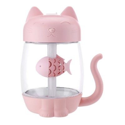 Lovely Cat Humidifier Portable Charging Creative Office Humidifier Three In One Usb Fan Desktop Atomizer Led Light Dry Protection