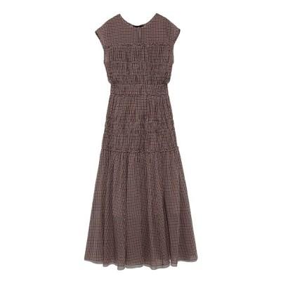 Female Vintage Dress Summer New Sleeveless Round Neck Plaid Women Elegant Thin Pleated Waist Casual Dress